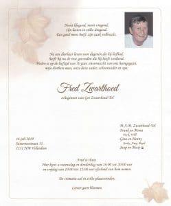 Rouwkaart Fred Zwarthoed