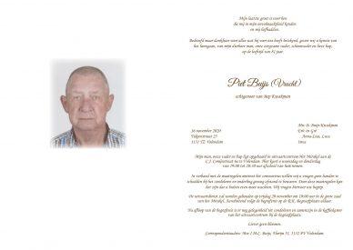 Rouwkaart Piet Buijs (Vracht)