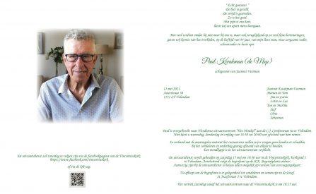 Paul Kwakman (de Mop) - rouwkaart