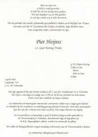 3516 Piet Heijnis - rouwkaart