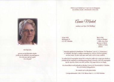 3548 Annie Meekel - rouwkaart
