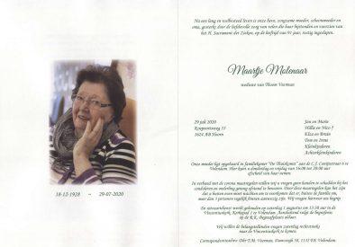 3556 Maartje Molenaar - rouwkaart