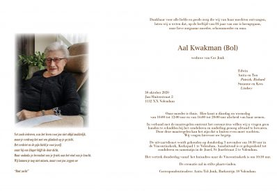 3598 Aal Kwakman (Bol) - rouwkaart