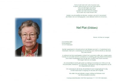 3599 Nel Plat (Dibbes) - rouwkaart