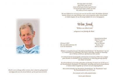 Rouwkaart van Willem van Albert Jonk