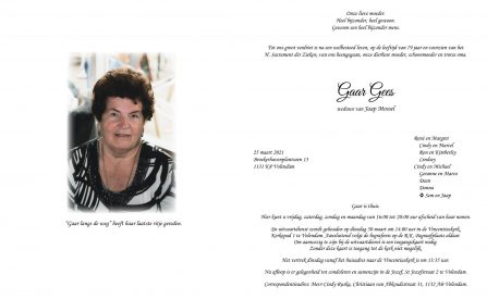 Gaar Gees - rouwkaart