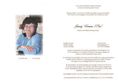 Jannig Veerman (Pen) - rouwkaart