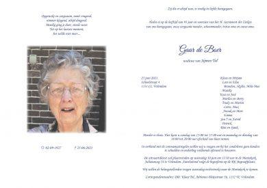 3705 Gaar de Boer - rouwkaart