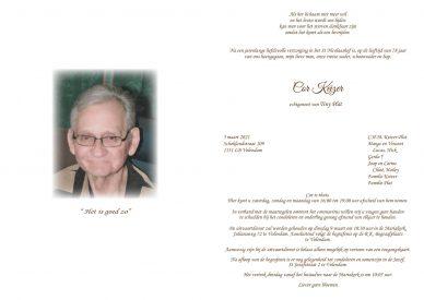 Cor Keizer - rouwkaart