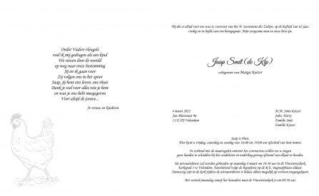 Jaap Smit - rouwkaart