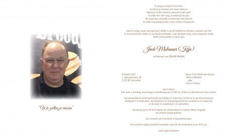 Jack Molenaar (Keje) - rouwkaart
