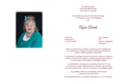 Rouwkaart Agnes Arends