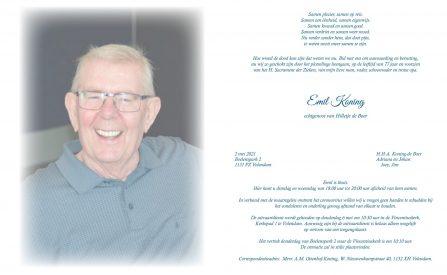 Rouwkaart Emil Koning -1