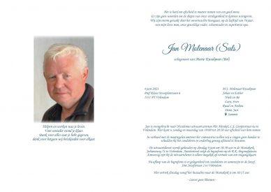 Rouwkaart Jan Molenaar (Suls)