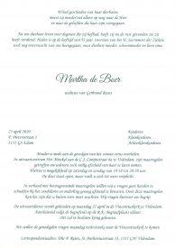 Rouwkaart Martha de Boer