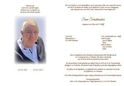 Rouwkaart Sam Schuitemaker